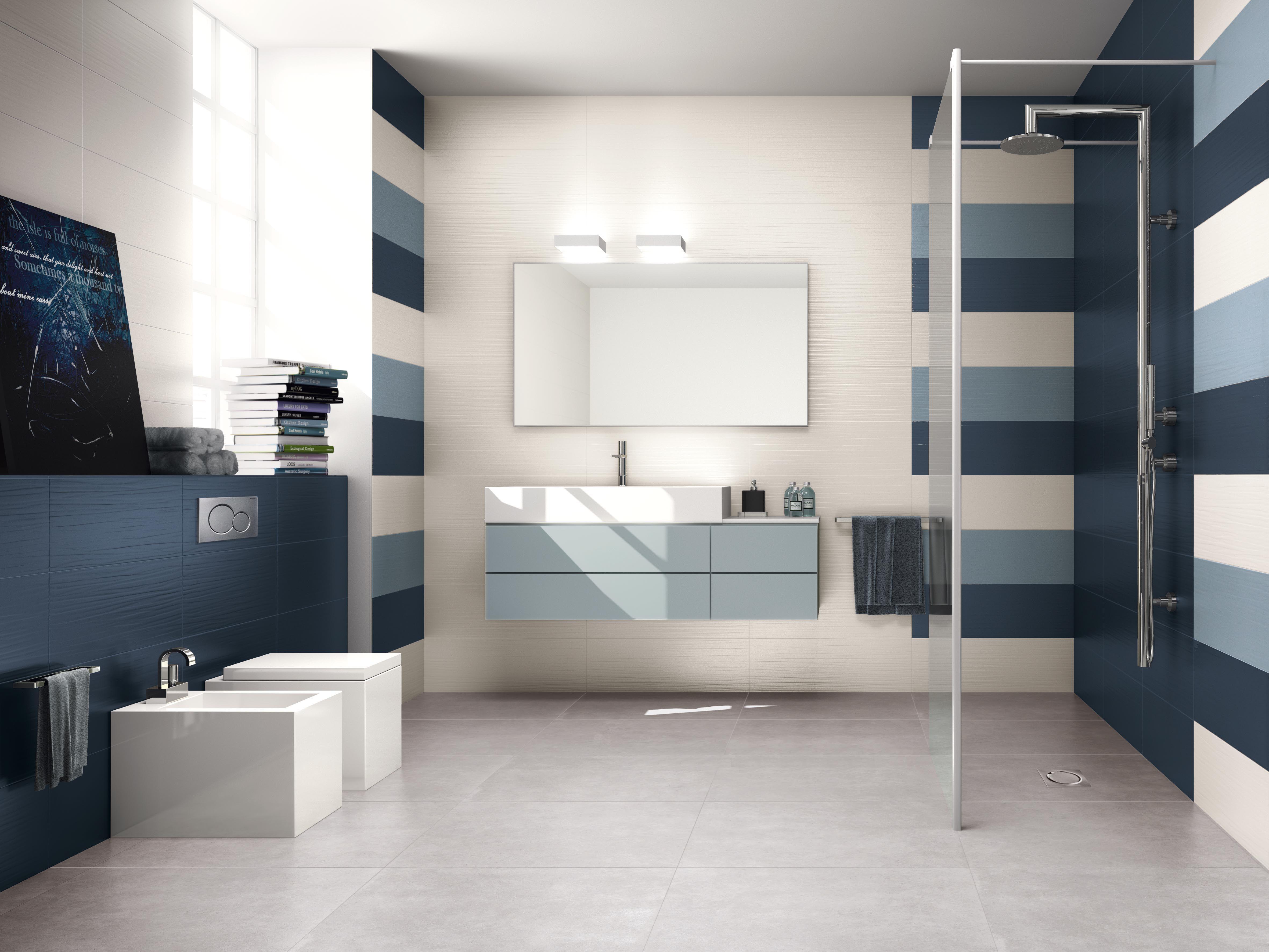 Bagno realizzato con i colori Blu e Avio della collezione Lace. Versatilità ed eleganza sono le ...