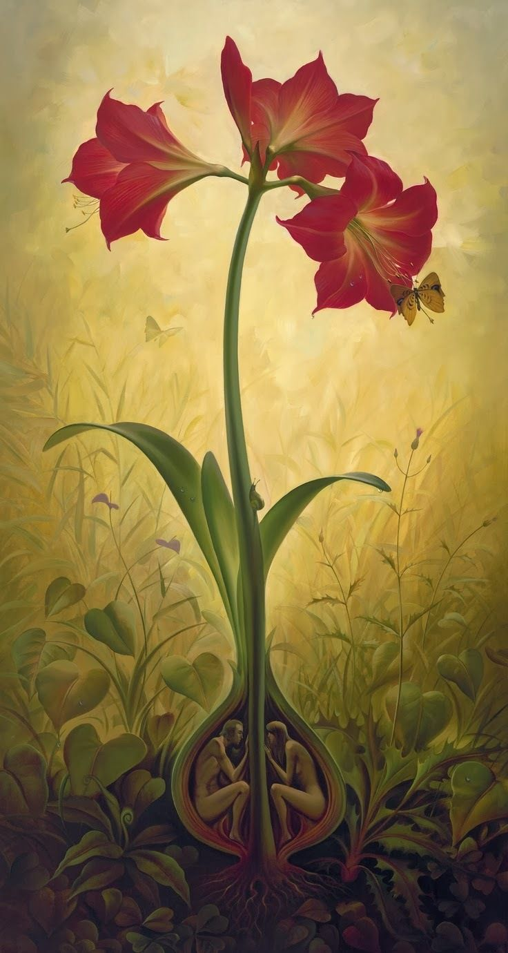 "Thoughts Behind Surreal artworks of Vladimir Kush. ""The Amaryllis bulb is a symbol of Paradise, the enclosed space. Away from strangers' eyes, the love of a Man and a Woman bulges and eventually turns into a magnificent red flower, spreading its petals toward the sky."""