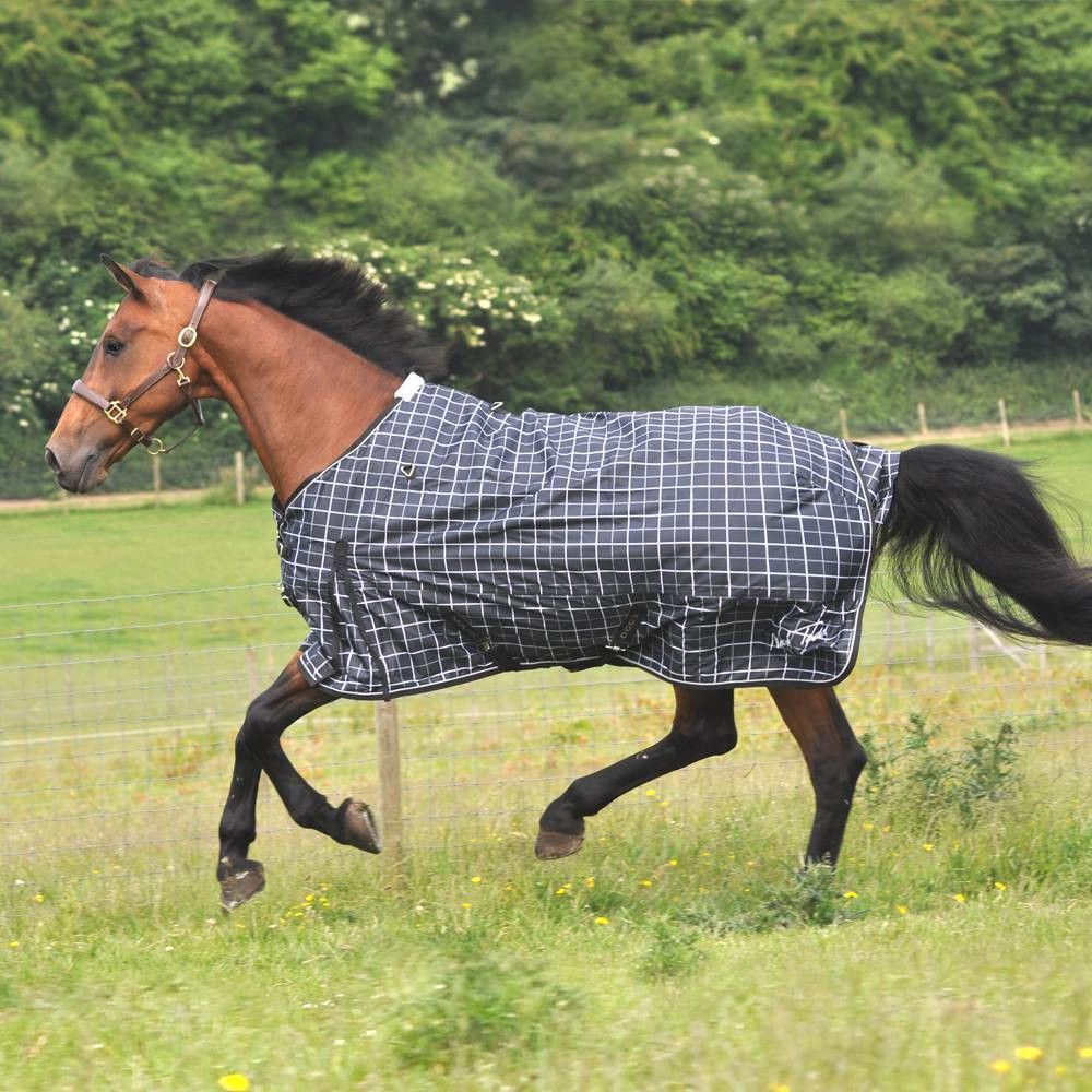 Fair Price Equestrian Mark Todd Lightweight Turnout Rug Plaid Black And Grey 69 99
