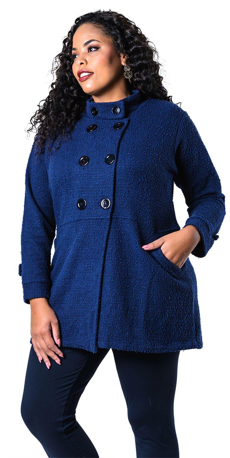 Casaco Plus Size Lã Batida Azul essencial para compor looks estilosos no  Inverno. Roupas Plus 3cd9725ebd0b5