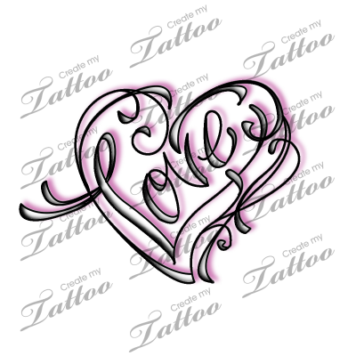 marketplace tattoo love calligraphy and swirl heart design 17866. Black Bedroom Furniture Sets. Home Design Ideas