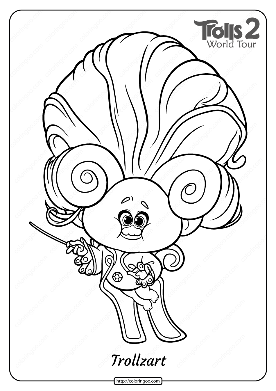 Free Printable Trolls 2 Trollzart Pdf Coloring Page Coloring Pages Poppy Coloring Page Paw Patrol Coloring