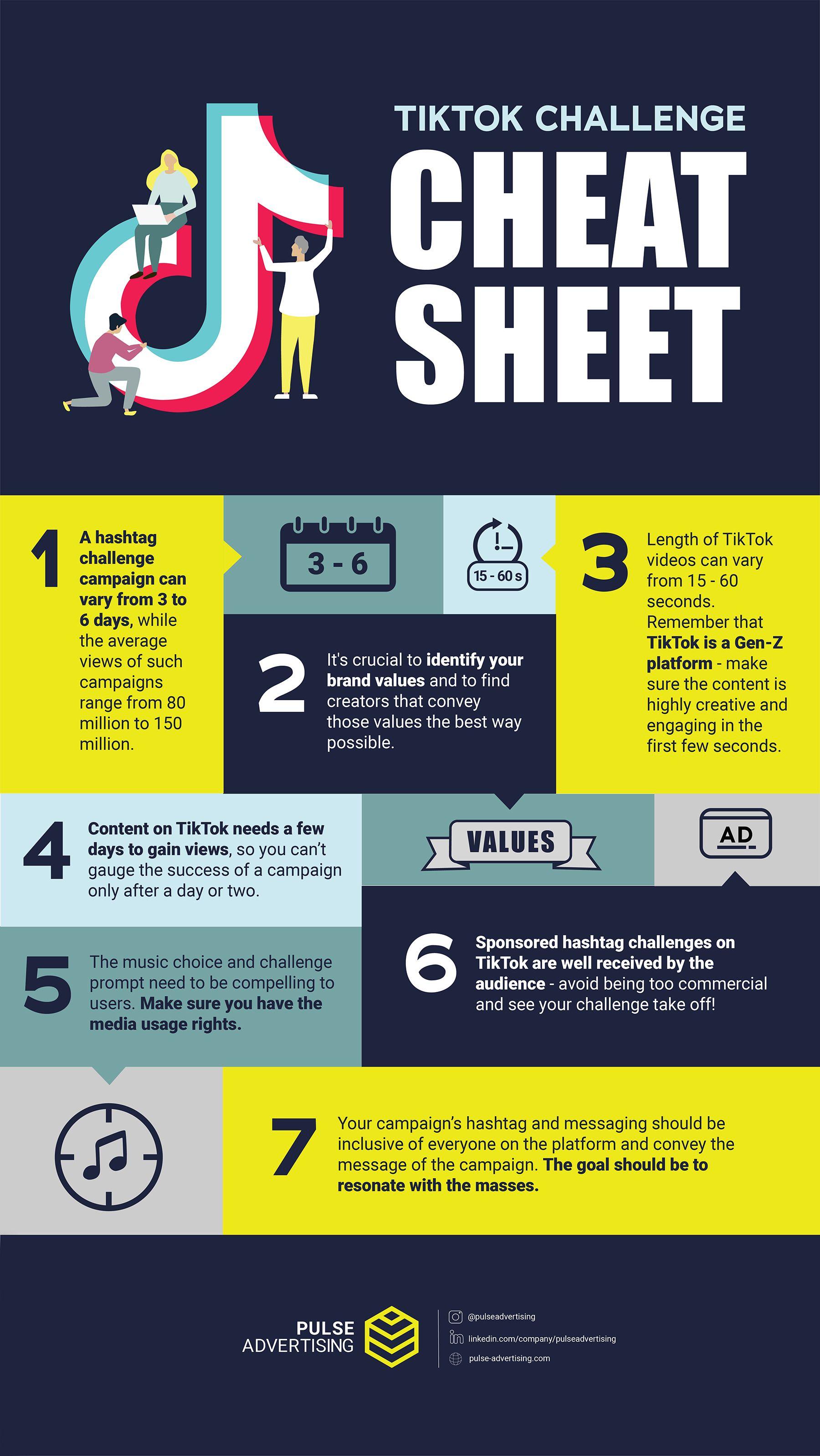 Tiktok Challenge Cheat Sheet Social Media Infographic Marketing Strategy Social Media Snapchat Marketing
