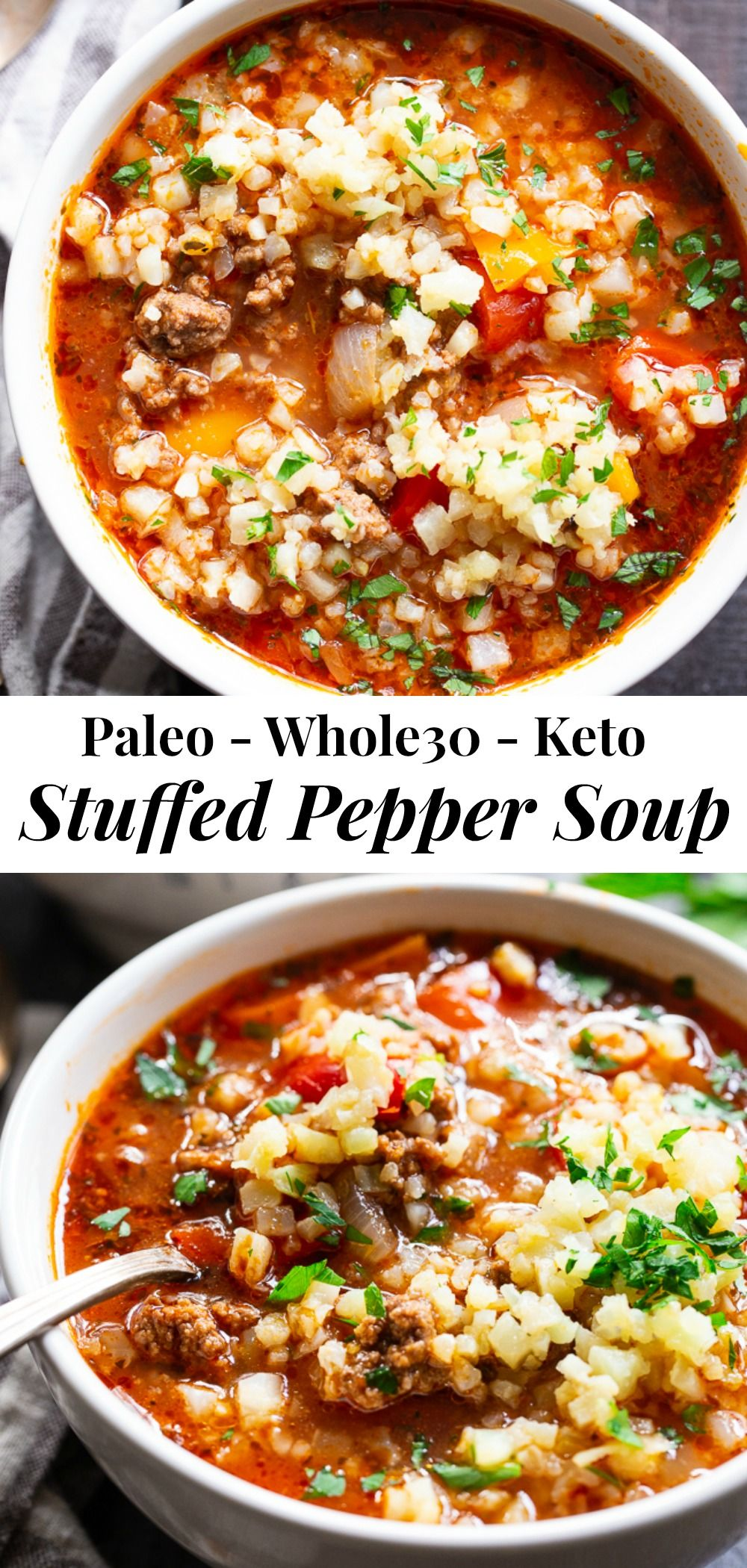 Stuffed Pepper Soup In The Instant Pot Whole30 Keto Recipe In 2020 Stuffed Pepper Soup Stuffed Peppers Dairy Free Soup