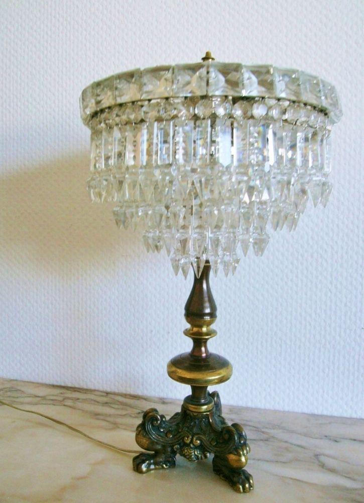 Empire Kristall Tischleuchter Alte Tischlampe Antik kronleuchter ...