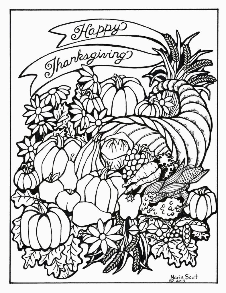 Adult Coloring Page Serendipity Hollow Thanksgiving
