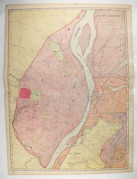 1903 Large Map St Louis MO Map Vintage St Louis Gift St Louis City