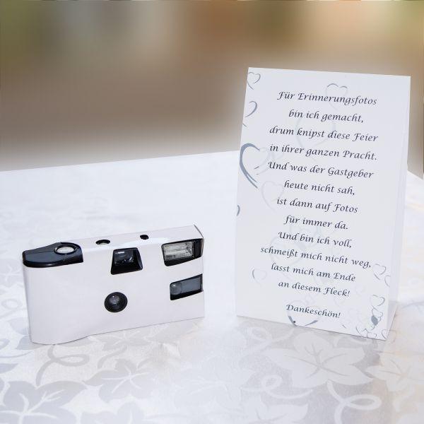 Tischkarte zur Einwegkamera wei  Hochzeit  Pinterest