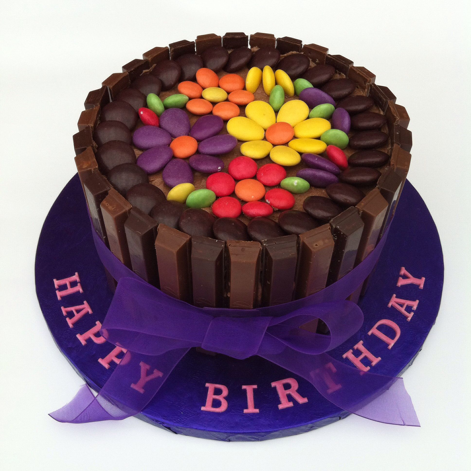 Chocolate Fudge Cake Decoration Ideas : Chocolate fudge Kitkat cake with minstrels, smarties and ...