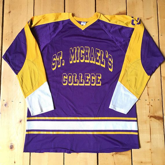 Rare Vintage 70s St Michael s College Purple and Yellow Champion Blue Bar  Mesh Hockey Jersey - Size 48 - XL 855dd69ba