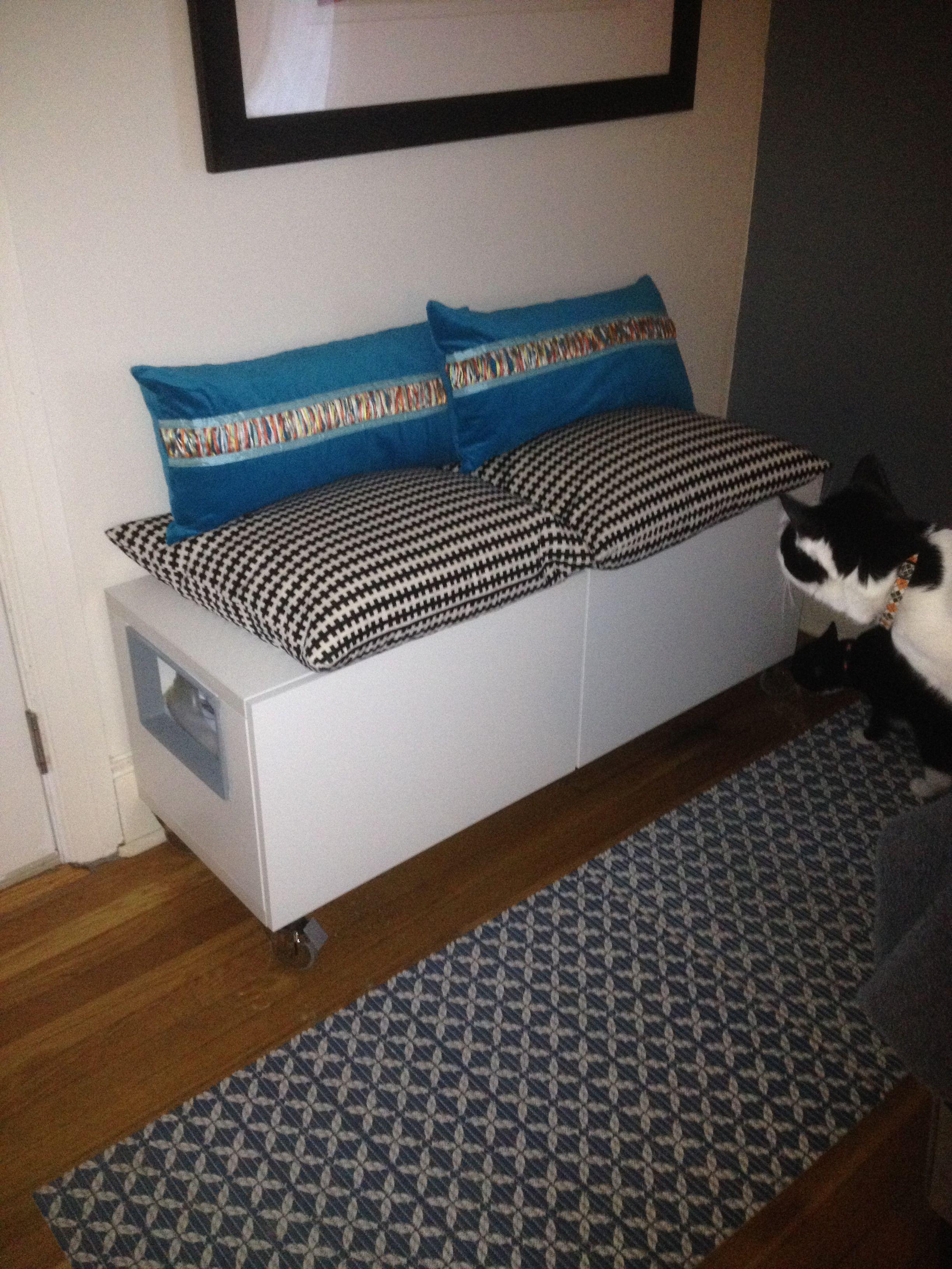 Hidden Cat Litter Boxes With Ikea Besta Cabinet Hiding Cat Litter Box Litter Box Litter Box Covers