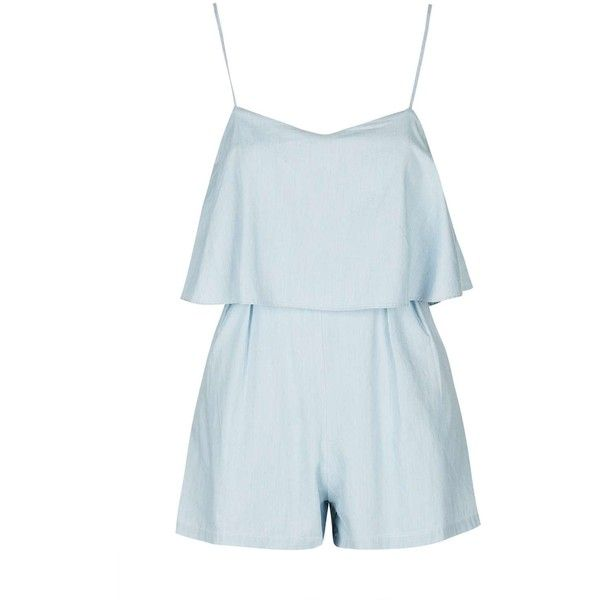Chambray Overlay Playsuit by Glamorous Petites (£16) ❤ liked on Polyvore featuring jumpsuits, rompers, chambray rompers, playsuit romper, topshop rompers, blue romper and topshop romper