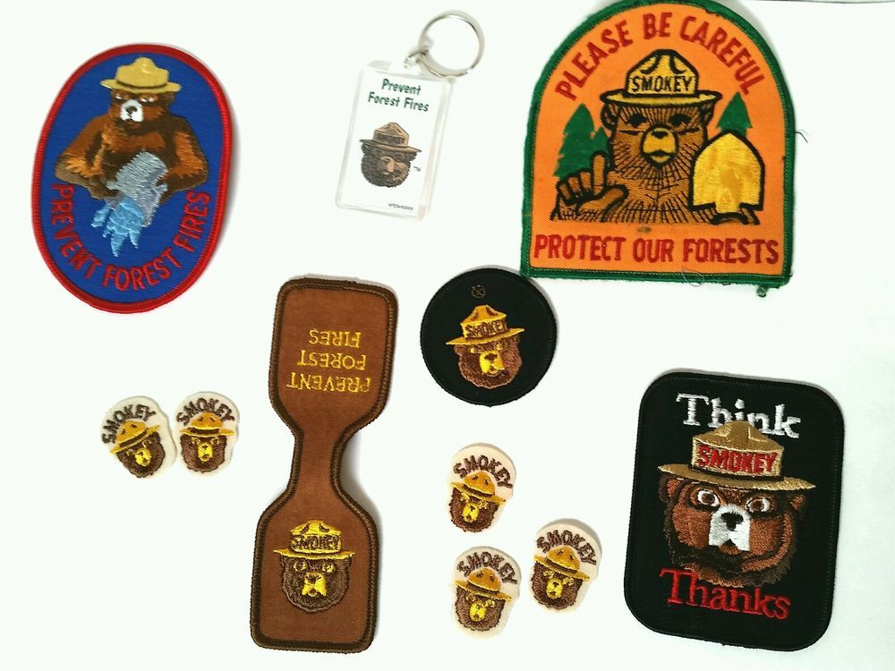 #SmokeyBear Vintage Lot 11 Patches + Keychain Prevent Forest Fires Think Thanks #Firefighter #Patch