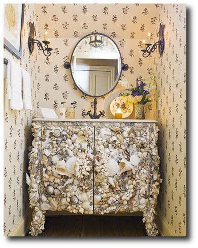 Bathroom Vanity Decorated In Seashells- Home Beautiful