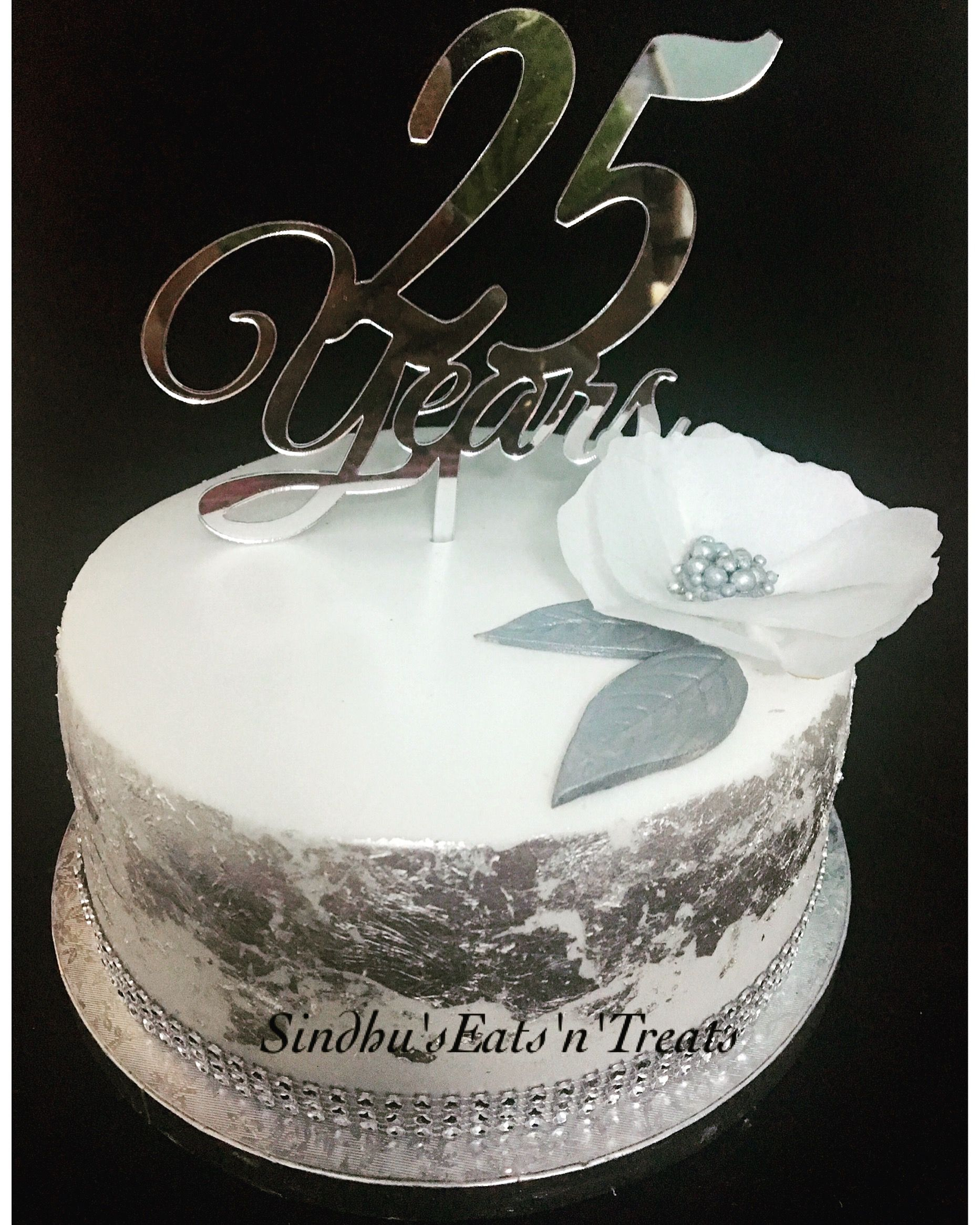 25th Anniversary Silver Jubilee Cake With Edible Silver Foil And