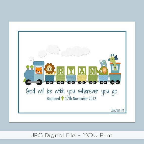 Boys personalized train printable 8x10 with bible verse baptism boys personalized train printable with bible verse baptism date birth info great for a baptism gift baby gift or the nursery negle Gallery