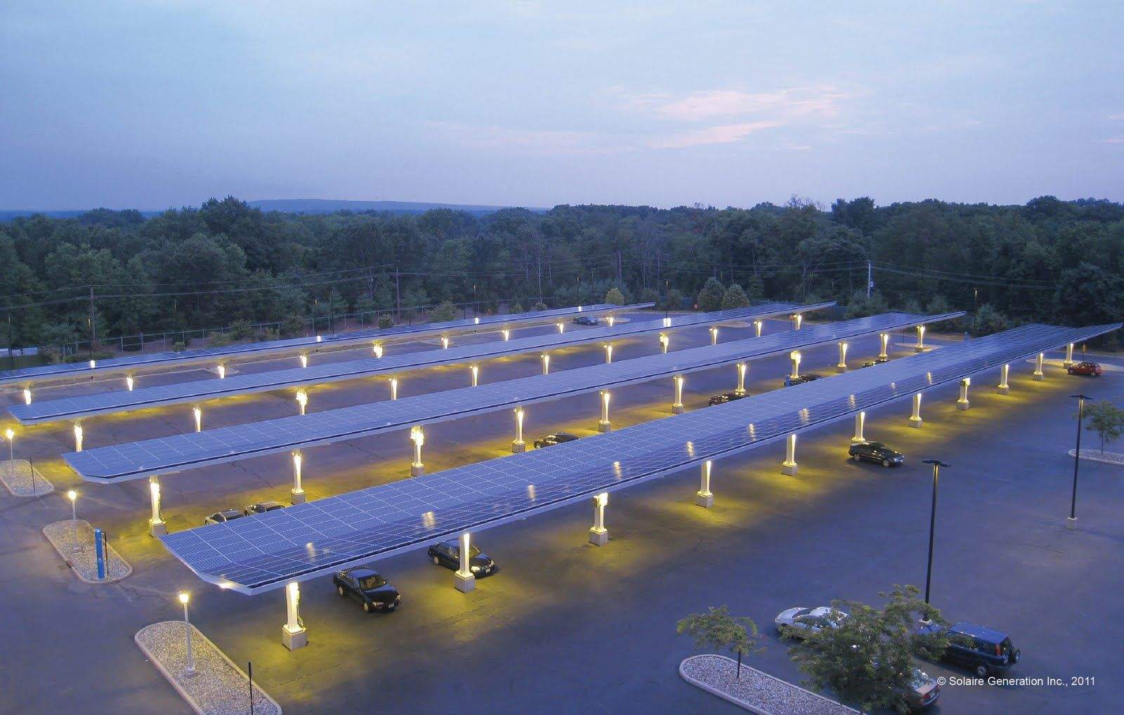 solaire's parking canopies, a cool parking lot | cool parking lots