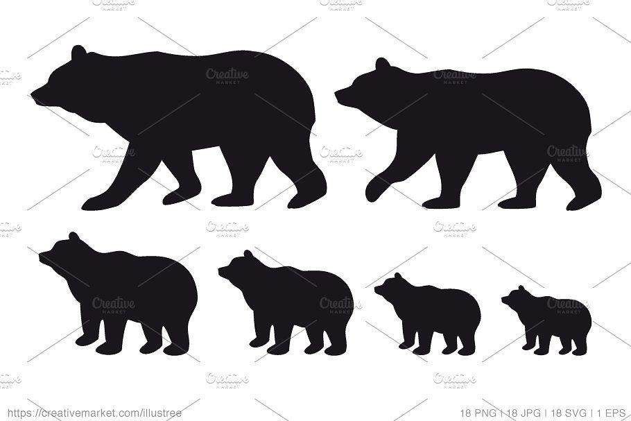 Bear Family Silhouettes Vector Set Bear Silhouette Bear Illustration Bear Art