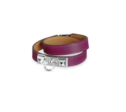 62fe646751b Rivale Bracelet cuir double tour en Veau Swift Rose Tosca plaqué argent et  palladium (tour de poignet  17 cm) réf. 062517CKK5S 421