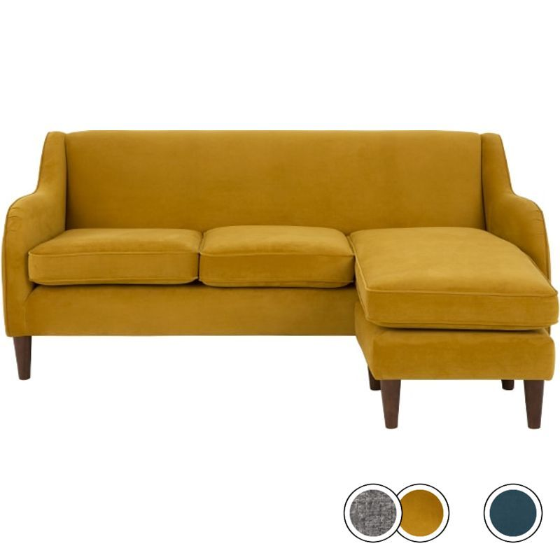 MADE Plush Turmeric Velvet Corner Sofa