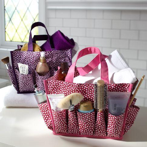 Mini Dot Bath Beauty Bin PBteensuch A Good Idea To Use These - Travel bag for bathroom items for bathroom decor ideas