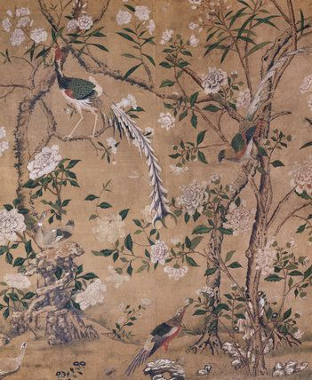The dressing room at nostell priory with hand painted wallpaper from china depicting birds trees