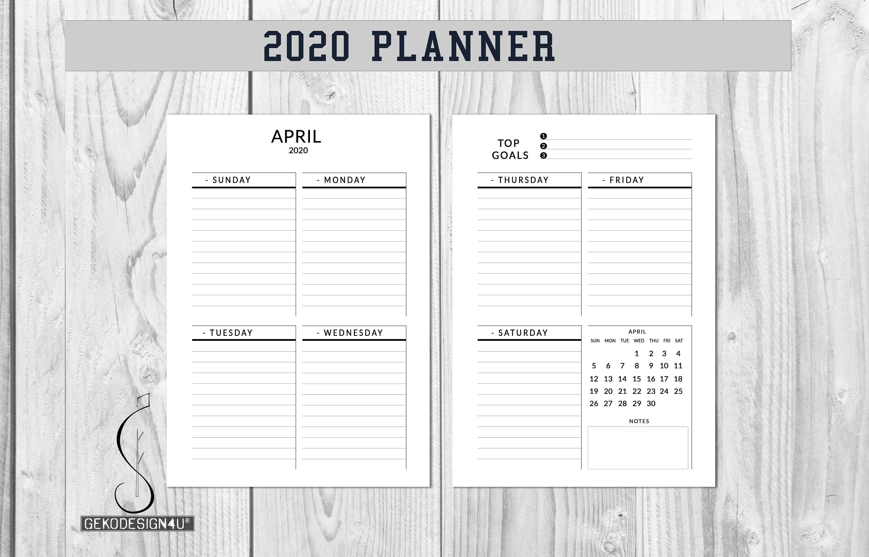 Planner 2020 Printable Weekly Planner 2020 Planner Etsy Weekly Planner Printable Weekly Planner Planner Inserts Printable