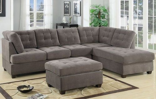 3pc Modern Reversible Grey Charcoal Sectional Sofa Couch with Chaise and Ottoman - Grey Living Room Sectional : sectional with ottoman and chaise - Sectionals, Sofas & Couches