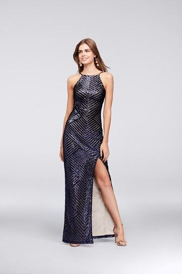Angled lines of tiny sequins create an eye-catching pattern on this ...