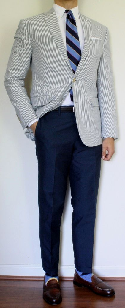 seersucker jacket navy pants