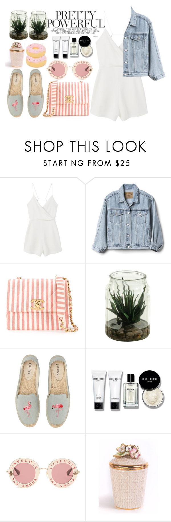 """""""#341"""" by vilte-m ❤ liked on Polyvore featuring MANGO, Gap, Chanel, Soludos, Bobbi Brown Cosmetics, Gucci, Jay Strongwater and Sunnylife"""