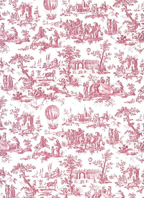 Toile de jouy rouge wallpapers pinterest toile wallpaper and miniatures - Toile de jouy papier peint ...