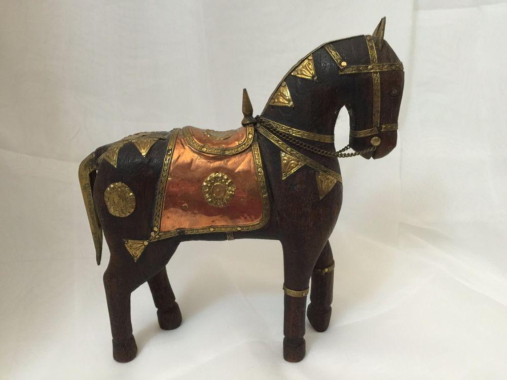 Antique/Vintage Hand Carved Wooden Horse Hammered Brass
