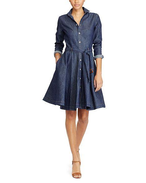 Belted Denim Shirtdress - Short Dresses - RalphLauren.com | Belt ...
