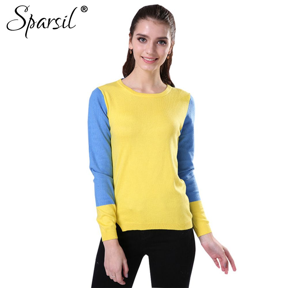Sparsil Women's Spring Cotton Blend O-Neck Knitted Pullover ...
