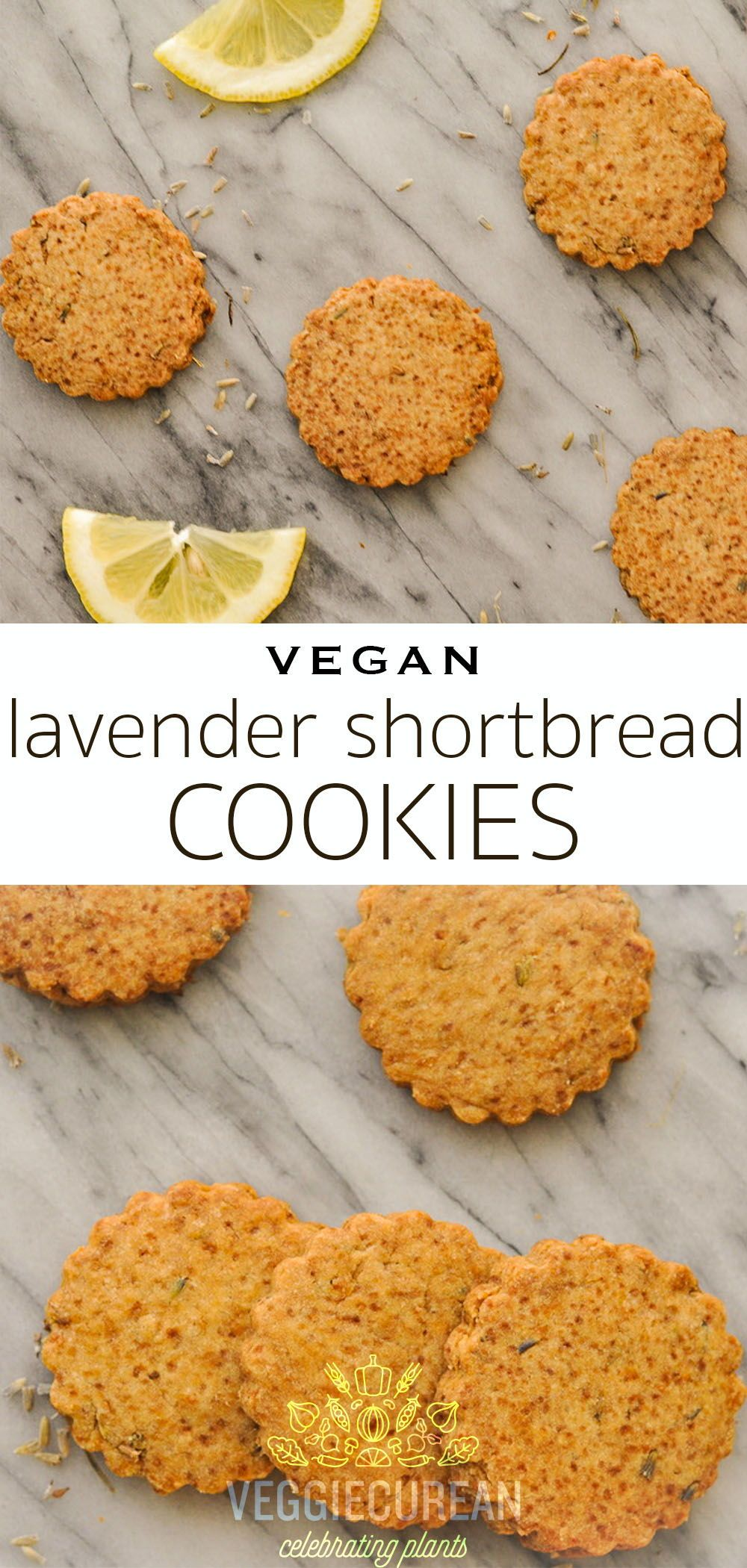 With just five ingredients these lightly scented Lavender Shortbread Cookies infused with lemon zest and lavender flowers are the perfect plantbased afternoon snack Theyr...