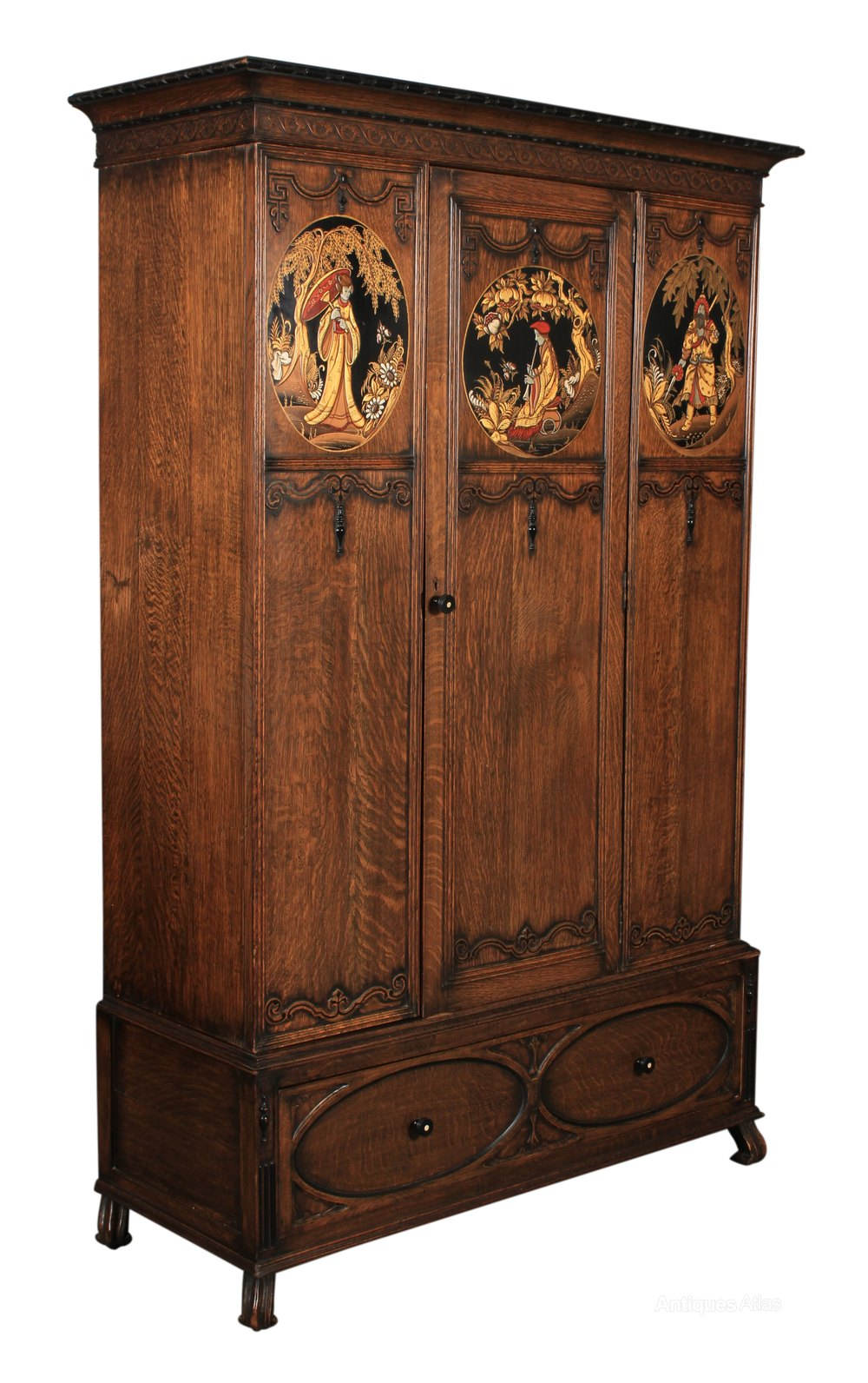 Solid Oak Chinoiserie Wardrobe Antiques Atlas Antique Wardrobe Antiques Solid Oak