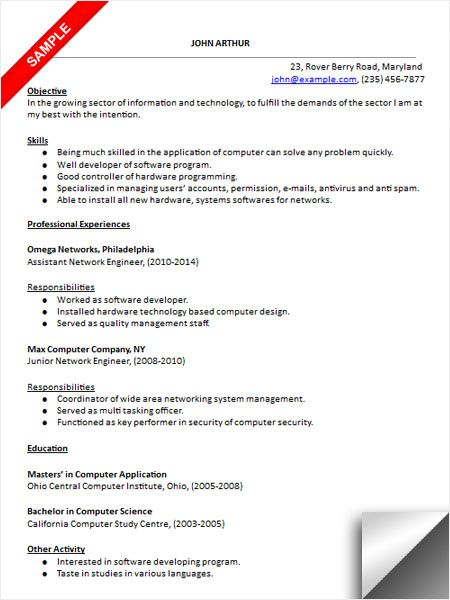 Download Network Engineer Resume Sample Resume Examples - carpenter assistant sample resume