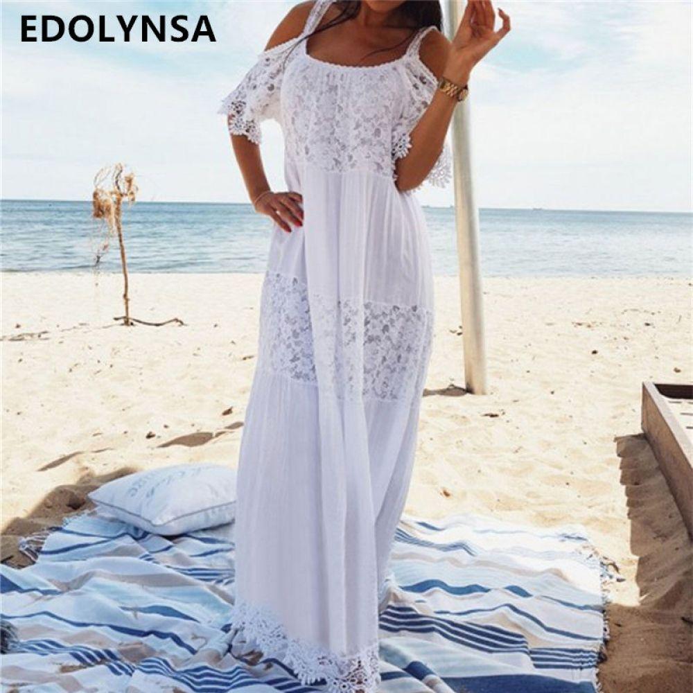 Cotton Patchwork Lace Beach Dress Long Beach Cover Up Vestido Bathing Suit Lace Beach Dress Boho Lace Maxi Dress Vacation Maxi Dress