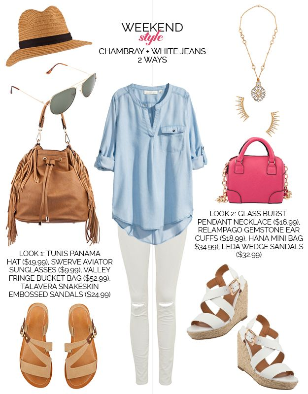 Weekend Style - Chambray Top WhiteJ eans
