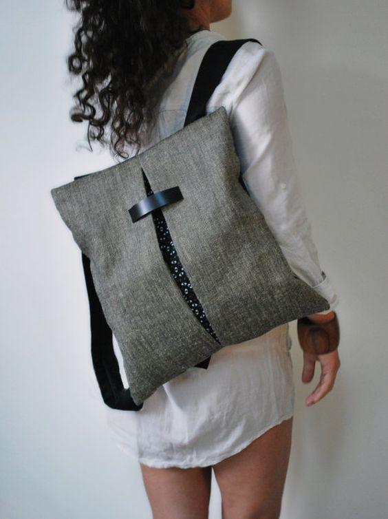 Unique design backpack & messenger bag Gray Jute bag Black canvas Cotton fabric Handmade women bag Stylish Stylish College bag Gift for her