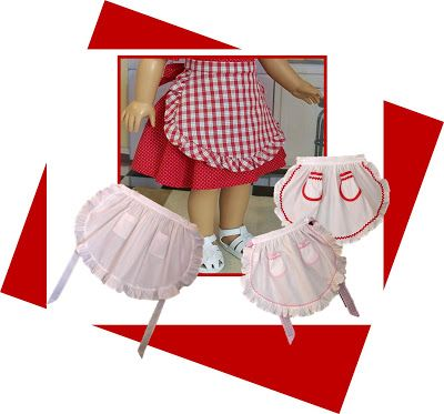"Free apron patterns! ~One for girls (click on the girl apron pictures) and one for 18"" dolls (click on the doll apron picture)"