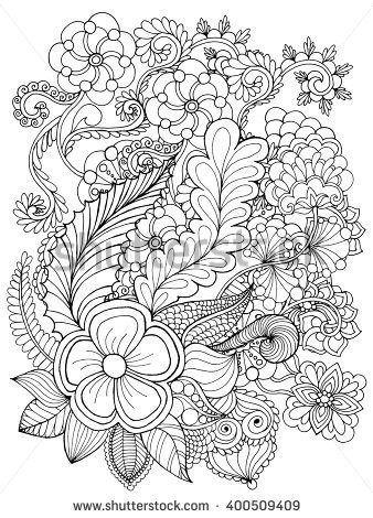Fantasy Flowers Coloring Page Hand Drawn Doodle Floral