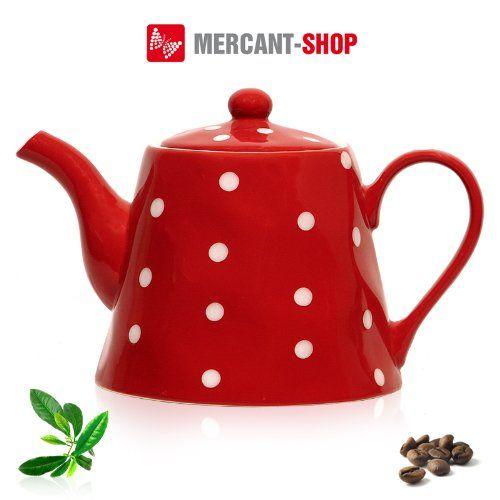 Weiße Teekanne 40798 teekanne kaffeekanne rot weiße punkte keramik