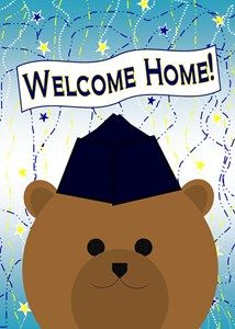 Welcome home your military hero with a fun card! Find a uniform to