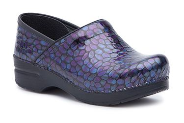 881617a06a47 Add an eye-catching print like the Purple Pebble Patent on classic Dansko  Pro clogs!