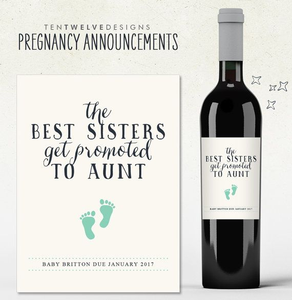 Custom Wine Label Pregnancy Announcement The Best Sisters Get
