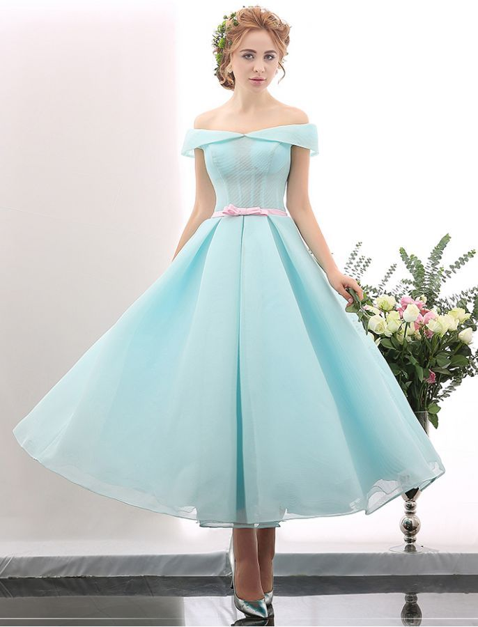 Off Shoulder Vintage Tea Length Ball Gown | winola | Pinterest | Tea ...
