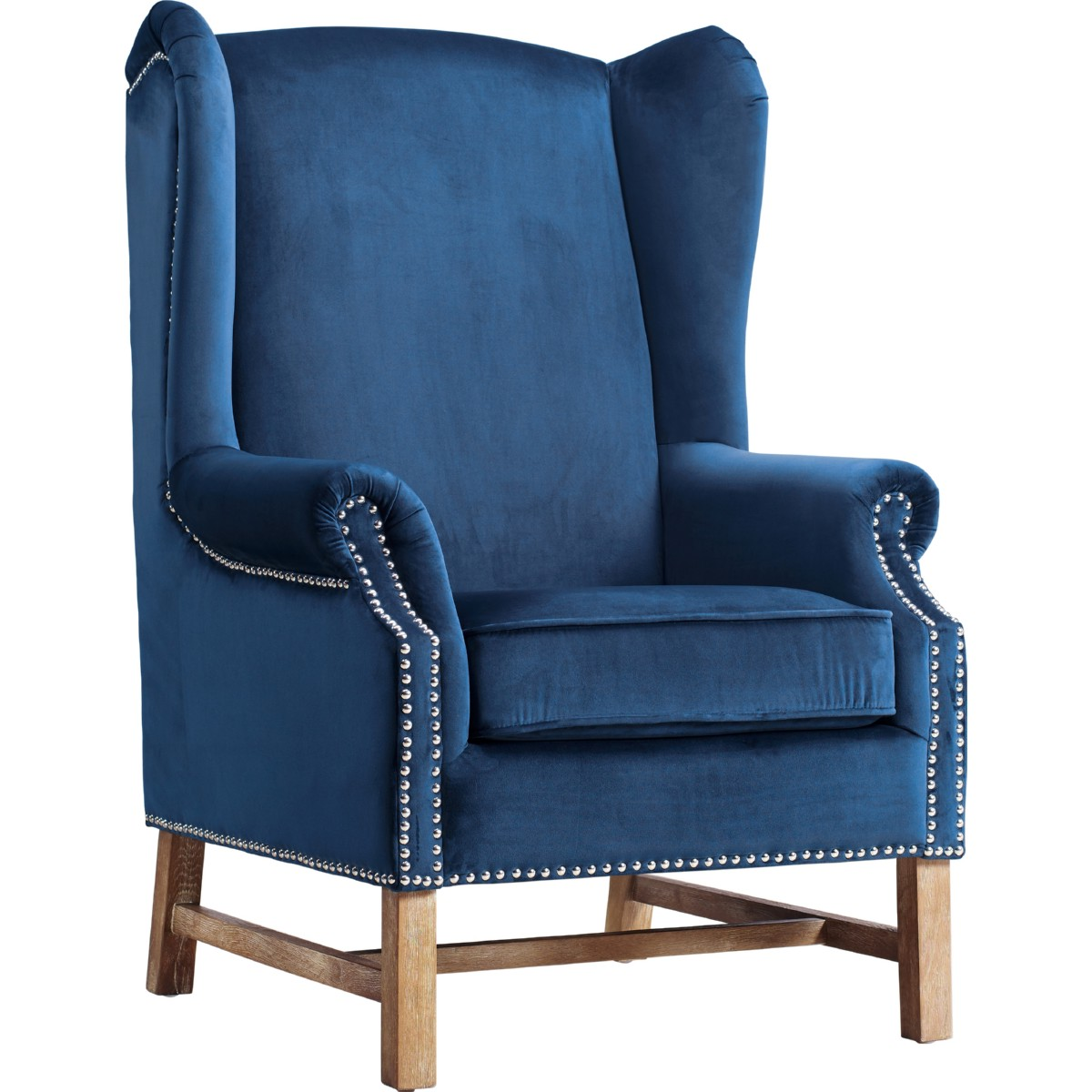 Best Tov Furniture Nora Navy Velvet Wing Chair W Silver Nailhead 400 x 300