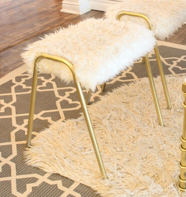 How To Reupholster An Old Stool Metal Chairs Fuzzy Stool Stool